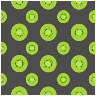 Kiwi fruits seamless pattern for background top view of vector illustration