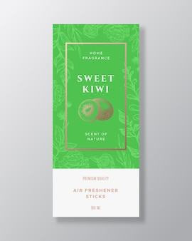 Kiwi home fragrance abstract vector label template hand drawn sketch flowers leaves background and r...