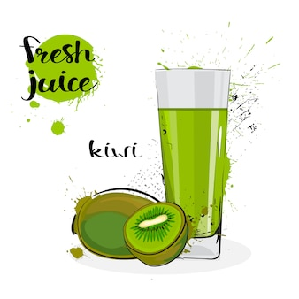 Kiwi juice fresh hand drawn watercolor fruits and glass on white background