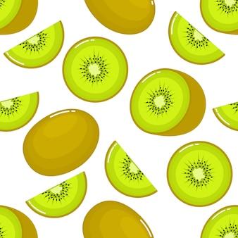 Kiwi seamless pattern and slices. fruit summer on white background.