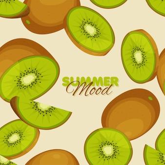 Kiwi seamless pattern summer mood template