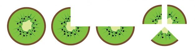 Kiwi  slice icon vector isolated on white background.