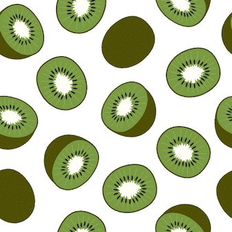 Kiwi, sliced and whole fruit. seamless pattern on white. flat vector illustration. texture for print, fabric, textile, wallpaper.