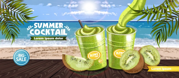 Kiwi smoothie tropic banner