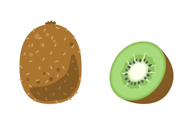 Киви целиком и нарезать. символ летних фруктов. иллюстрация в плоском мультяшном стиле, изолированные на белом
