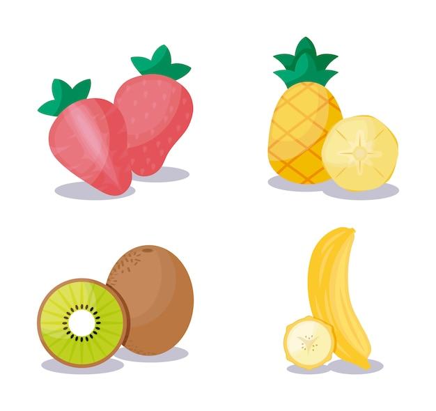 Kiwi with set fruits healthy