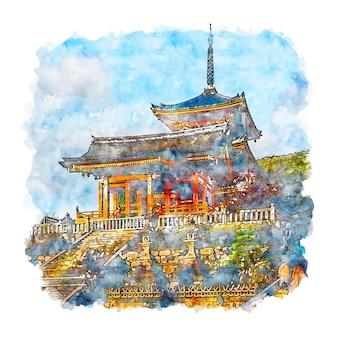 Храм киёмидзудэра япония акварельный эскиз рисованной иллюстрации