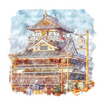 Замок киёсу япония акварельный эскиз рисованной иллюстрации