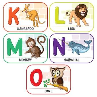 動物のアルファベットklmno