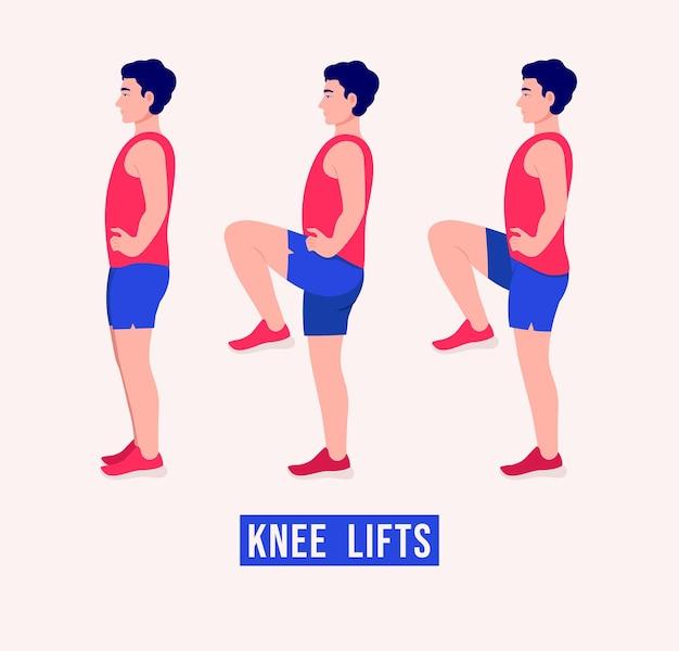 Упражнение с подтяжкой колен мужчины тренировки фитнес-аэробика и упражнения