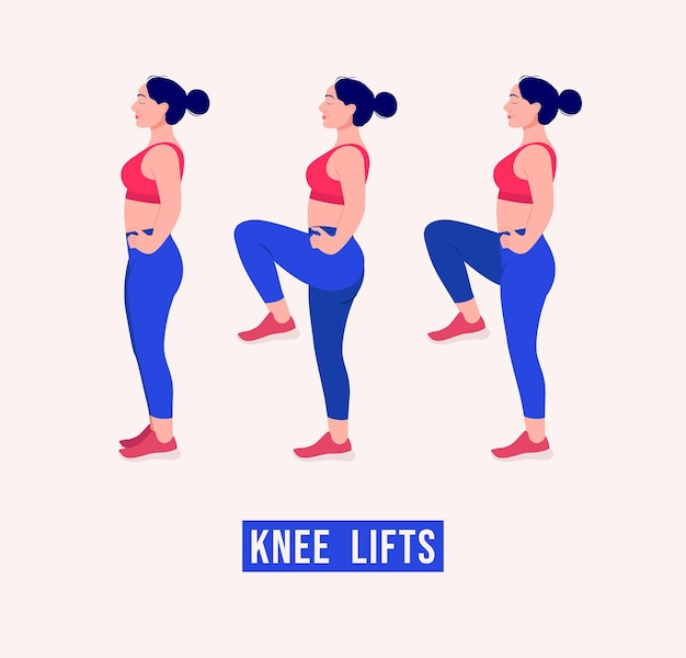 Knee lifts exercise woman workout fitness aerobic and exercises