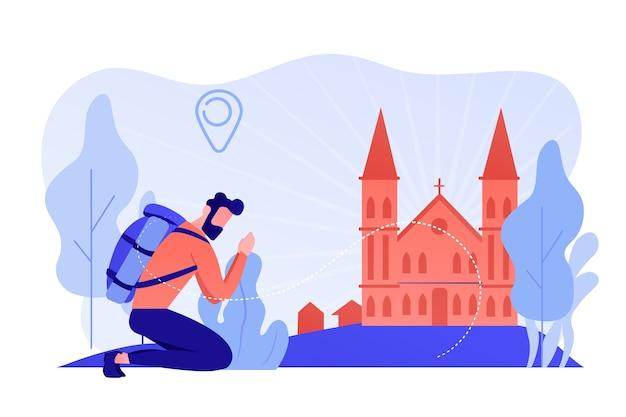 ひざまずく巡礼者は有名なキリスト教の大聖堂に到着し、祈っていました。キリスト教の巡礼、巡礼に行き、聖地の概念をご覧ください。ピンクがかった珊瑚bluevector分離イラスト