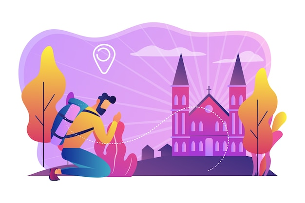 Il pellegrino in ginocchio ha raggiunto la famosa cattedrale cristiana e ha pregato. pellegrinaggi cristiani, andare in pellegrinaggio, visitare il concetto di luoghi santi.