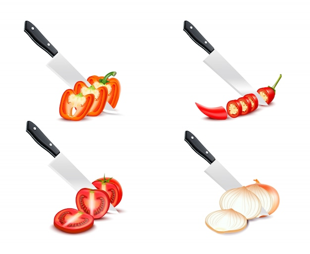 Knife chopping vegetable 3d design with tomato paprika onion chili set on white background isolated vector illustration