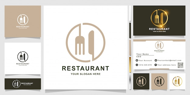 Knife and fork line or restaurant logo template with business card design