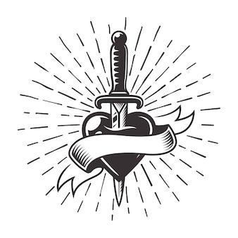 テキストとサンバースト光線の図の空白のリボンとハートのタトゥーのナイフ