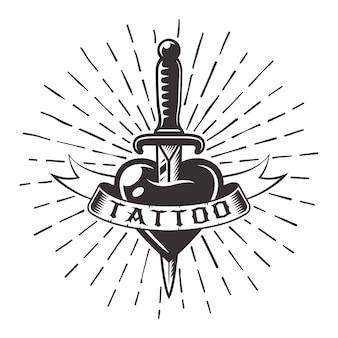 テキストとサンバースト光線の図のリボンとハートのタトゥーのナイフ