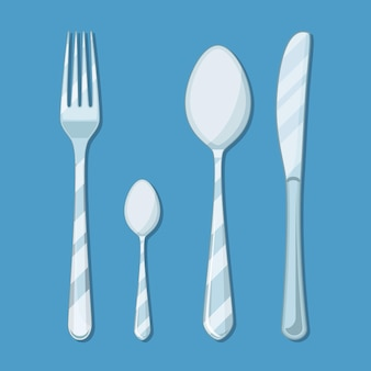 Knife, spoon and fork icon isolated on blue