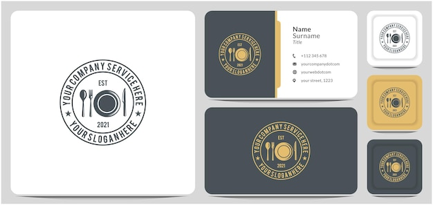 サービスフードレストランコーヒーのナイフスプーンフォークプレートロゴデザイン