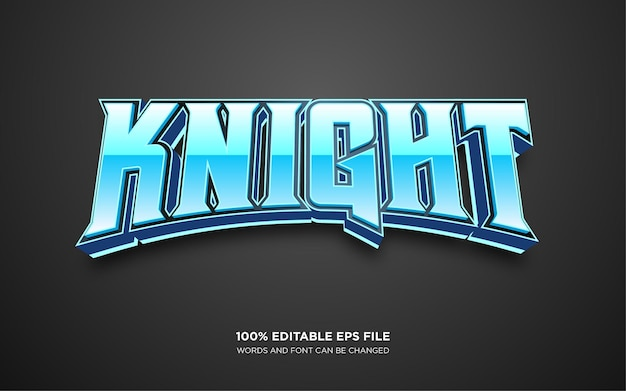Knight 3d editable text style effect