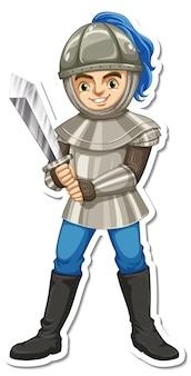 Un cavaliere in armatura che tiene l'adesivo del personaggio dei cartoni animati con la spada