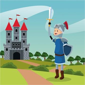 Рыцарский доспех щит меч замок пейзаж Premium векторы