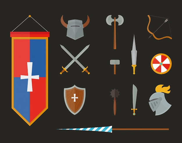 Knight armour with helmet, chest plate, shield and sword flat  illustration isolated on white background.