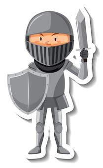 Cavaliere in armatura con adesivo cartone animato spada e scudo