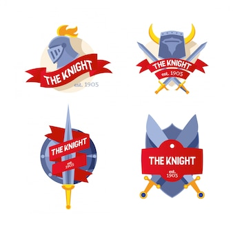 The knight badge, company, firm logo, flat knight sword, helmet with inscription on ribbon,   illustration isolated on white.