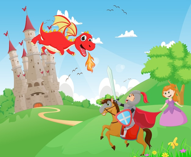 Рыцарь сражается с драконом, чтобы защитить принцессу