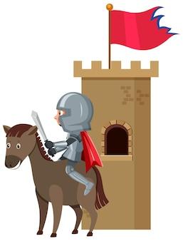 白い背景の上の騎士の漫画のキャラクター