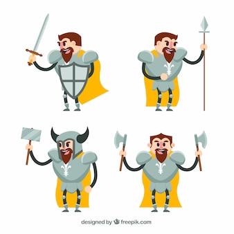 Set di caratteri cavalieri con accessori di lotta
