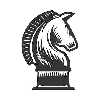 Knight chess vector line art illustration.