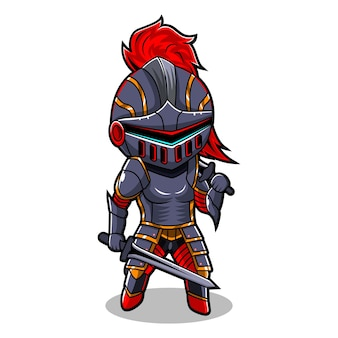 Логотип талисмана рыцаря чиби киберспорт