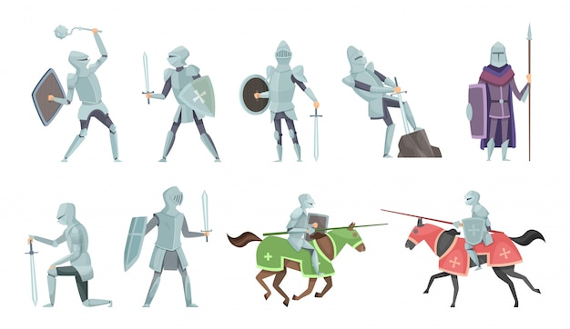 Knight. chivalry prince medieval fighters brutal warriors on horse battle vector cartoon illustrations