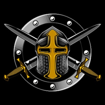 Knight and cross sword