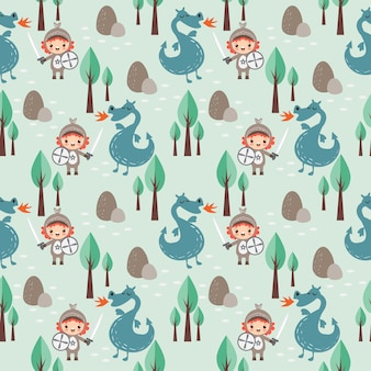 Knight and dragon seamless pattern