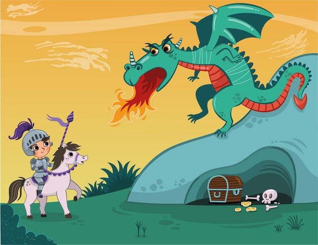 Knight and dragon of vector illustration