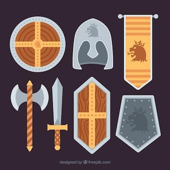 Элементы рыцаря с королевским стилем Бесплатные векторы