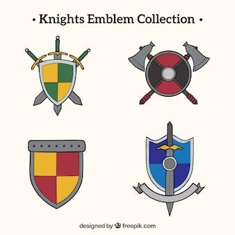 Дизайн эмблемы рыцаря в разных цветах