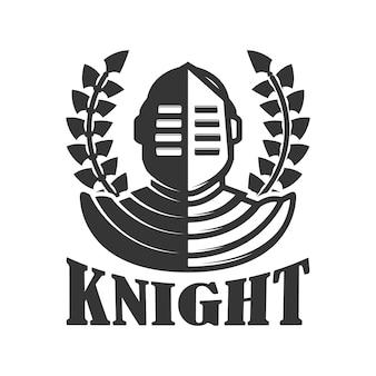 騎士。中世の騎士のヘルメットとエンブレムテンプレート。ロゴ、ラベル、記号の要素。図