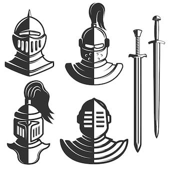 白い背景の上の剣を持つ騎士エンブレムテンプレート。 、ラベル、エンブレム、記号、ブランドマークの要素。図。