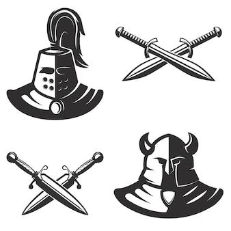 白い背景の上の剣を持つ騎士エンブレムテンプレート。ロゴ、ラベル、エンブレム、記号、ブランドマークの要素。図。