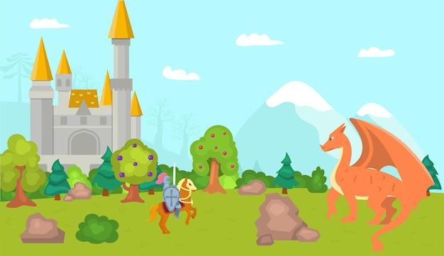 Рыцарь сражается с драконом векторная иллюстрация человек воин персонаж в доспехах держит меч средневековый батт ...