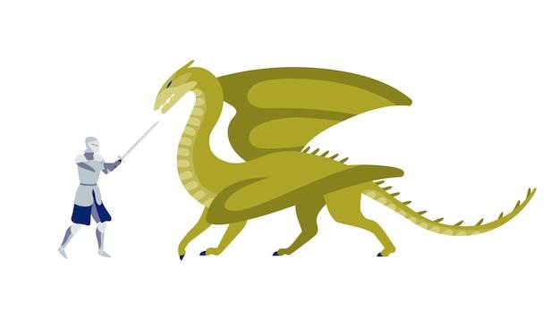 드래곤 플랫 벡터 일러스트와 함께 싸우는 기사. 괴물 만화 캐릭터와 고군분투하는 칼을 가진 용감한 전사. 동화 전투. 검객과 흰색 배경에 고립 된 신화적인 짐승입니다.