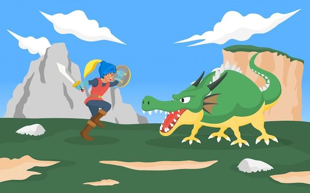 ドラゴンモンスターと戦う騎士。ロールプレイングゲームとおとぎ話の概念図