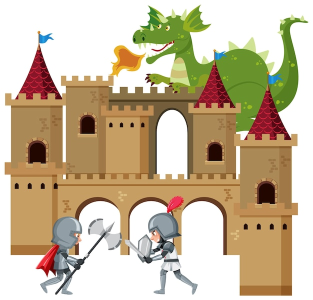 Knight flight with enemy in front of castle