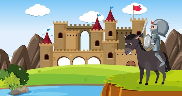 Knight in front of castle