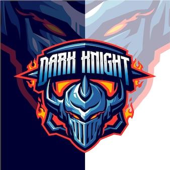 Логотип талисмана knight head для команды по киберспорту и спорту