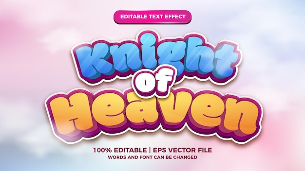 Knight of heaven cartoon comic editable text style effect template